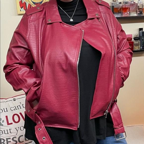 Vegan Leather Snake Embossed Belted Leather Jacket